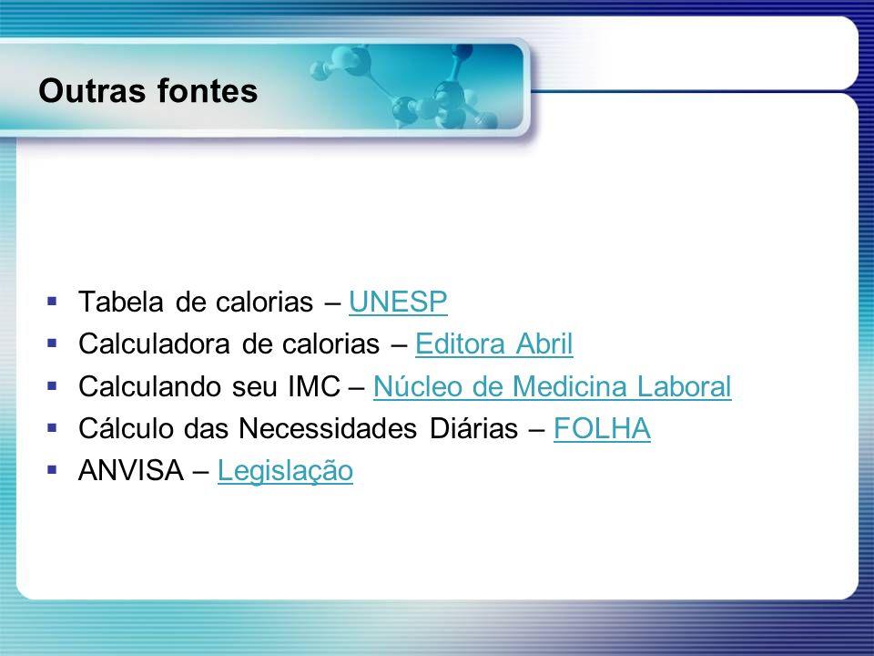 Outras fontes Tabela de calorias – UNESPUNESP Calculadora de calorias – Editora AbrilEditora Abril Calculando seu IMC – Núcleo de Medicina LaboralNúcl