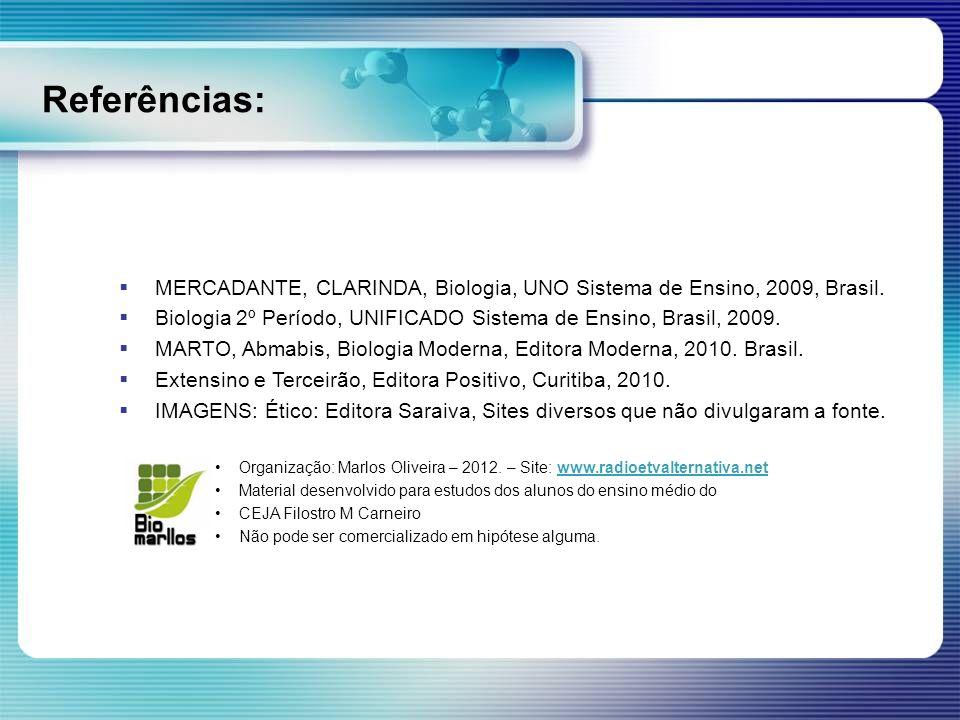 Referências: MERCADANTE, CLARINDA, Biologia, UNO Sistema de Ensino, 2009, Brasil. Biologia 2º Período, UNIFICADO Sistema de Ensino, Brasil, 2009. MART