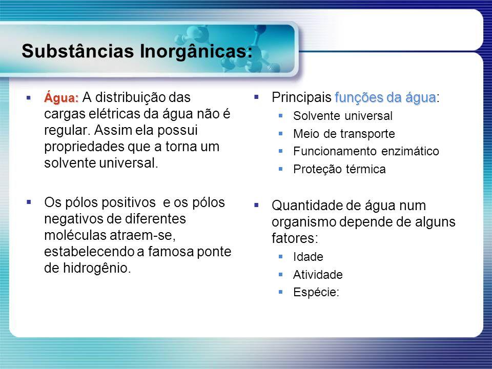 Substâncias Inorgânicas: Água: Água: A distribuição das cargas elétricas da água não é regular. Assim ela possui propriedades que a torna um solvente