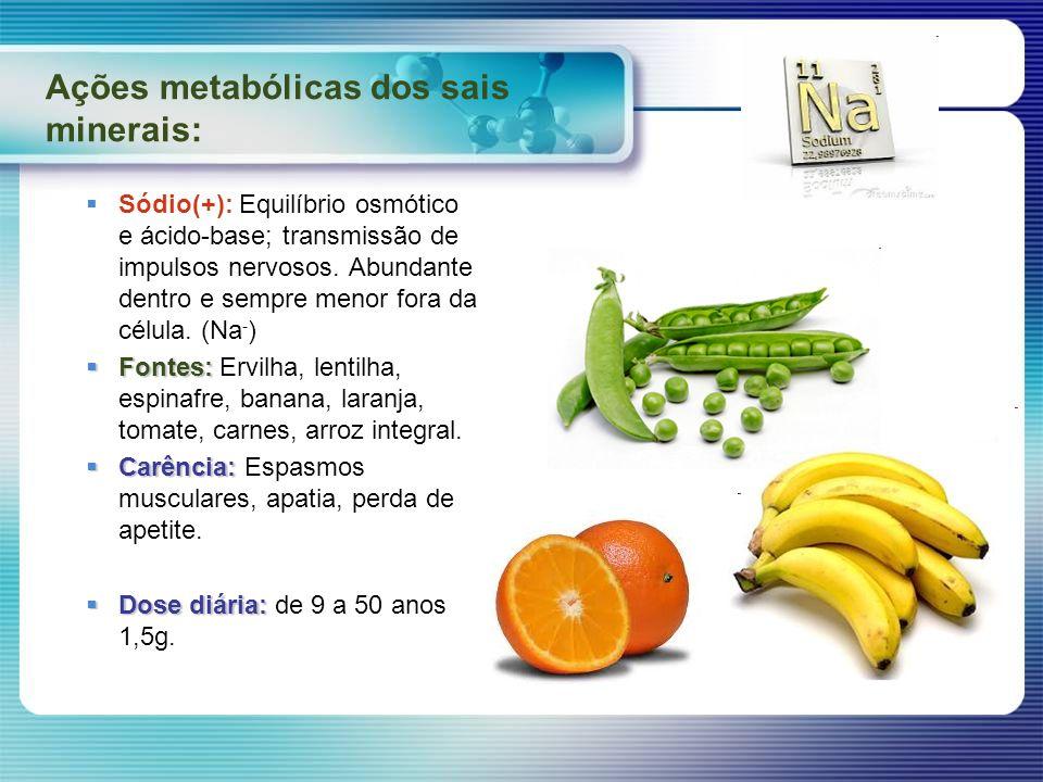 Ações metabólicas dos sais minerais: Sódio(+): Equilíbrio osmótico e ácido-base; transmissão de impulsos nervosos. Abundante dentro e sempre menor for