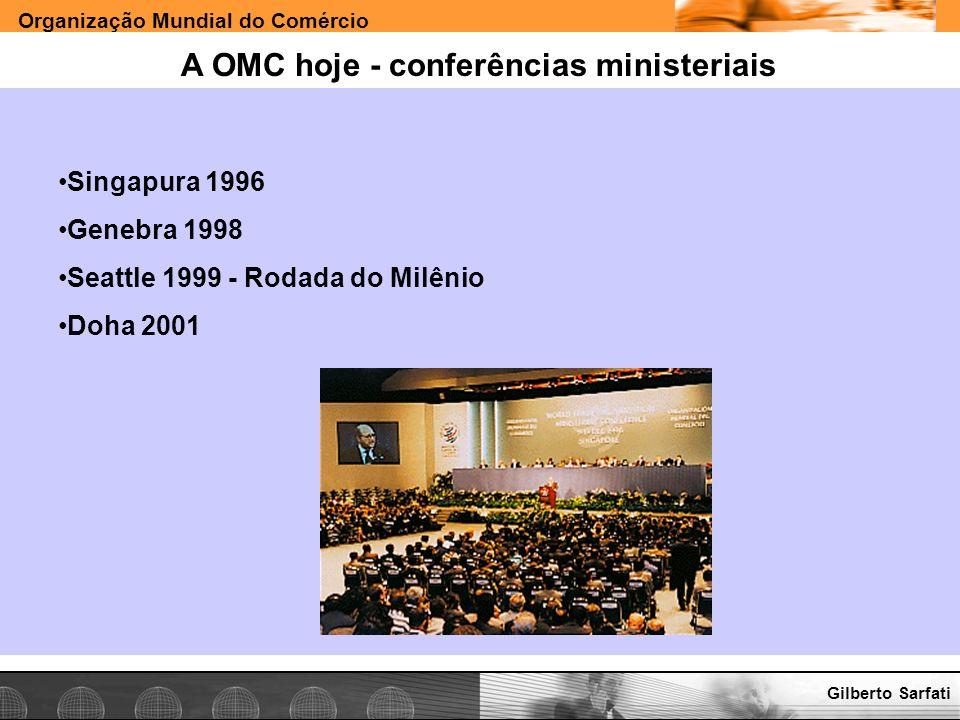 Organização Mundial do Comércio www.e-deliver.com.brGilberto Sarfati A OMC hoje - conferências ministeriais Singapura 1996 Genebra 1998 Seattle 1999 -