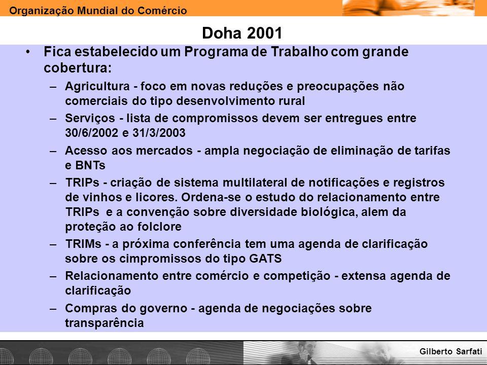 Organização Mundial do Comércio www.e-deliver.com.brGilberto Sarfati Doha 2001 Fica estabelecido um Programa de Trabalho com grande cobertura: –Agricu