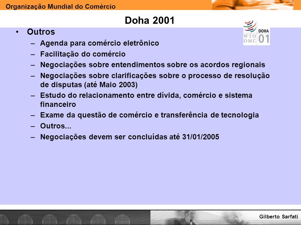 Organização Mundial do Comércio www.e-deliver.com.brGilberto Sarfati Doha 2001 Outros –Agenda para comércio eletrônico –Facilitação do comércio –Negoc