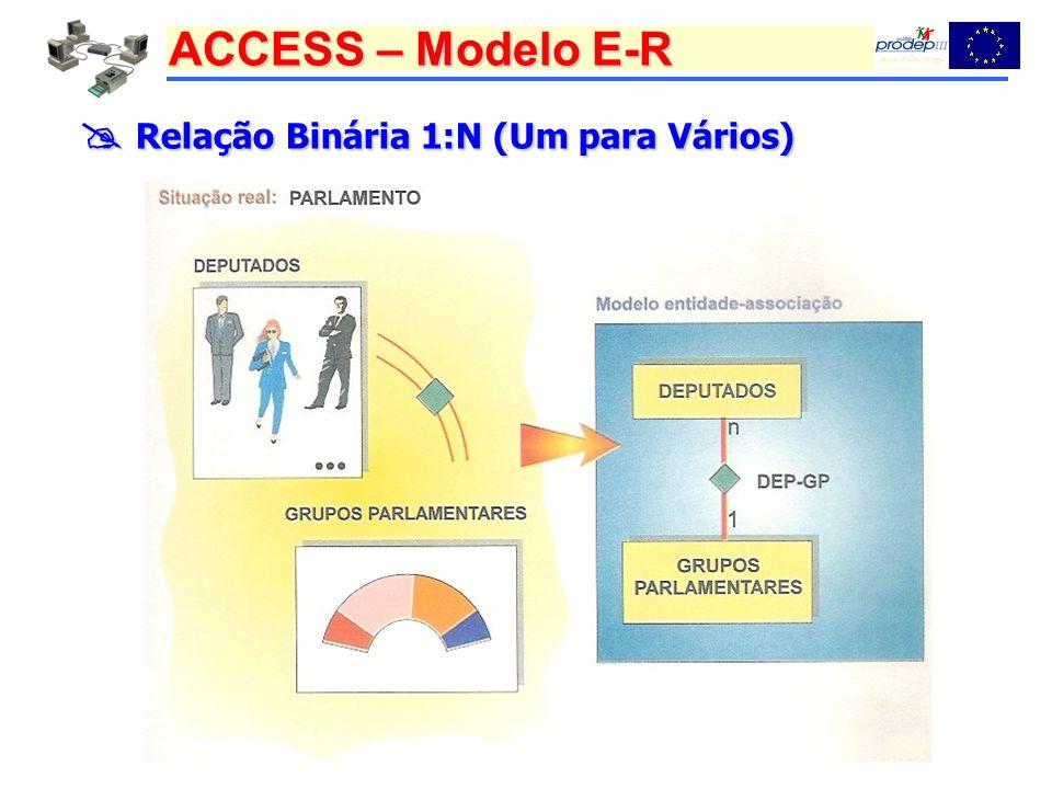 ACCESS – Modelo E-R Relação Binária 1:N (Um para Vários) Relação Binária 1:N (Um para Vários)