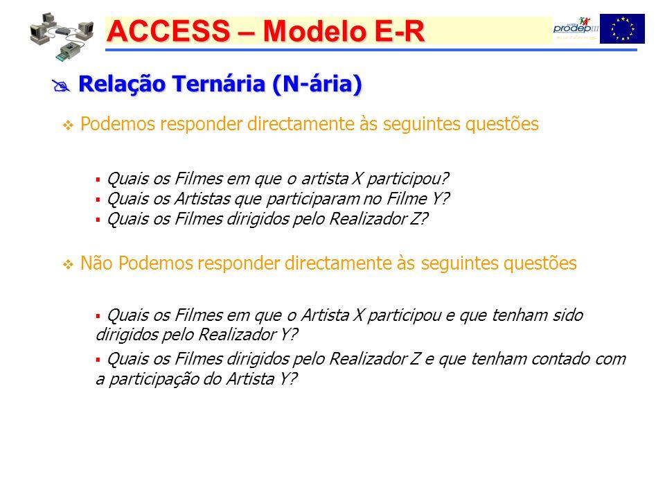 ACCESS – Modelo E-R Relação Ternária (N-ária) Relação Ternária (N-ária) Podemos responder directamente às seguintes questões Quais os Filmes em que o artista X participou.