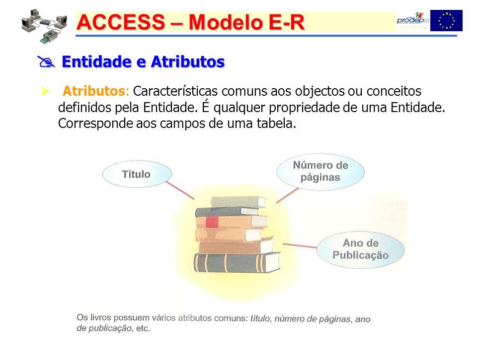 ACCESS – Modelo E-R Entidade e Atributos Entidade e Atributos Atributos: Características comuns aos objectos ou conceitos definidos pela Entidade.