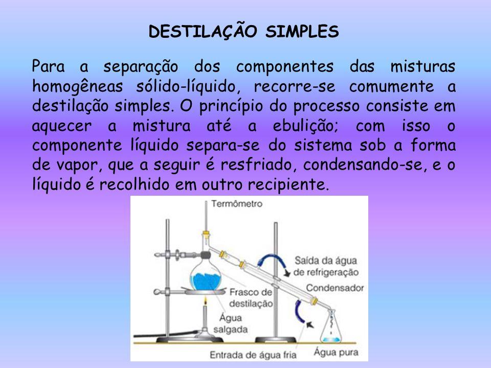 DESTILAÇÃO SIMPLES Para a separação dos componentes das misturas homogêneas sólido-líquido, recorre-se comumente a destilação simples. O princípio do