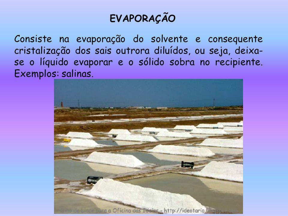 EVAPORAÇÃO Consiste na evaporação do solvente e consequente cristalização dos sais outrora diluídos, ou seja, deixa- se o líquido evaporar e o sólido sobra no recipiente.