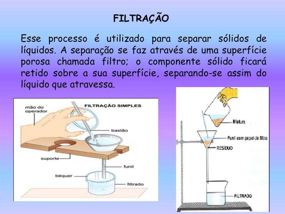 FILTRAÇÃO Esse processo é utilizado para separar sólidos de líquidos. A separação se faz através de uma superfície porosa chamada filtro; o componente