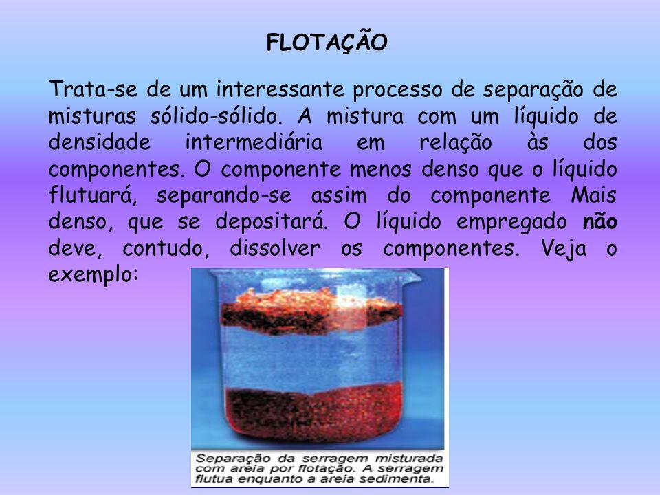 FLOTAÇÃO Trata-se de um interessante processo de separação de misturas sólido-sólido. A mistura com um líquido de densidade intermediária em relação à