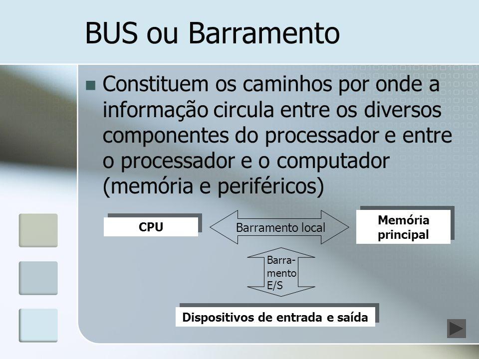 BUS ou Barramento Constituem os caminhos por onde a informação circula entre os diversos componentes do processador e entre o processador e o computad