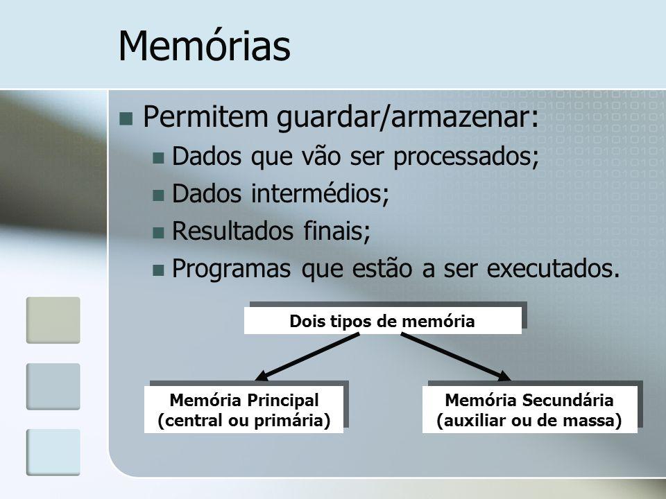 Memórias Permitem guardar/armazenar: Dados que vão ser processados; Dados intermédios; Resultados finais; Programas que estão a ser executados. Memóri