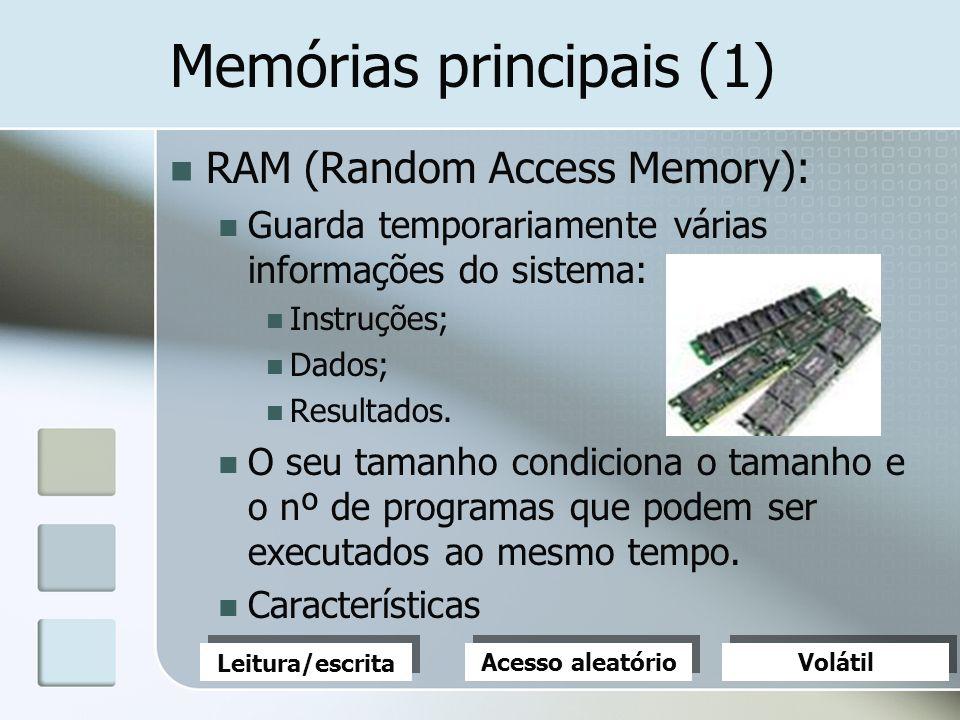 Memórias principais (1) RAM (Random Access Memory): Guarda temporariamente várias informações do sistema: Instruções; Dados; Resultados. O seu tamanho