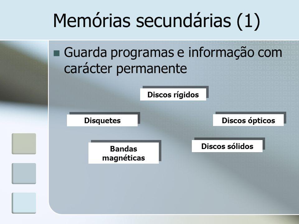 Memórias secundárias (1) Guarda programas e informação com carácter permanente Discos rígidos Disquetes Discos ópticos Bandas magnéticas Discos sólido