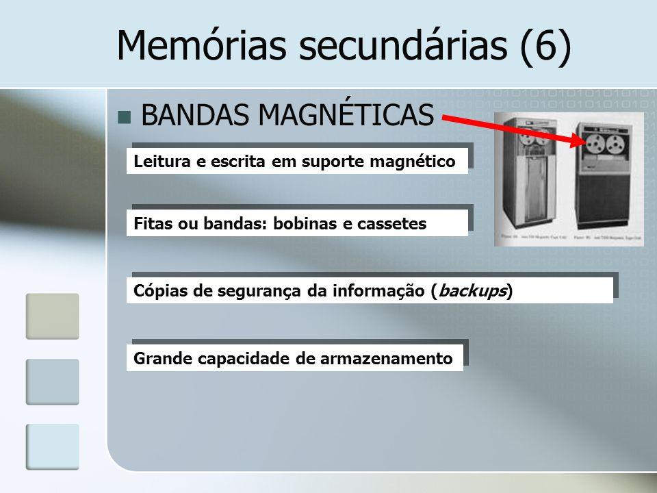 Memórias secundárias (6) BANDAS MAGNÉTICAS Leitura e escrita em suporte magnético Fitas ou bandas: bobinas e cassetes Cópias de segurança da informaçã