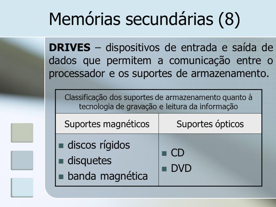 Memórias secundárias (8) DRIVES – dispositivos de entrada e saída de dados que permitem a comunicação entre o processador e os suportes de armazenamen