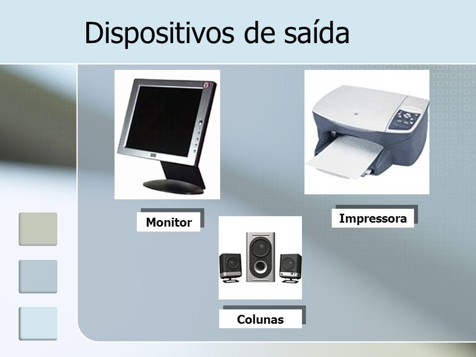 Dispositivos de saída Monitor Impressora Colunas