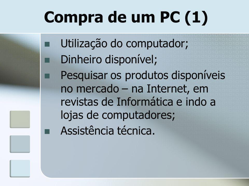 Compra de um PC (1) Utilização do computador; Dinheiro disponível; Pesquisar os produtos disponíveis no mercado – na Internet, em revistas de Informát