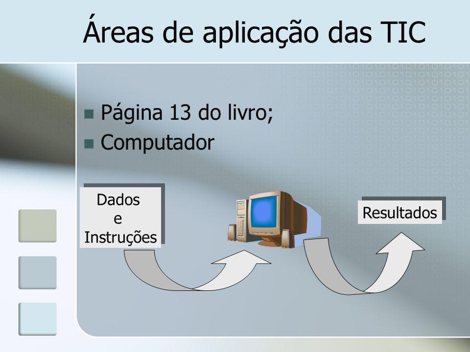 Áreas de aplicação das TIC - INFORMÁTICA Informática Sistema informático (computador e outros dispositivos associados) é constituído por dois tipos de componentes: hardware e software Principais áreas da informática