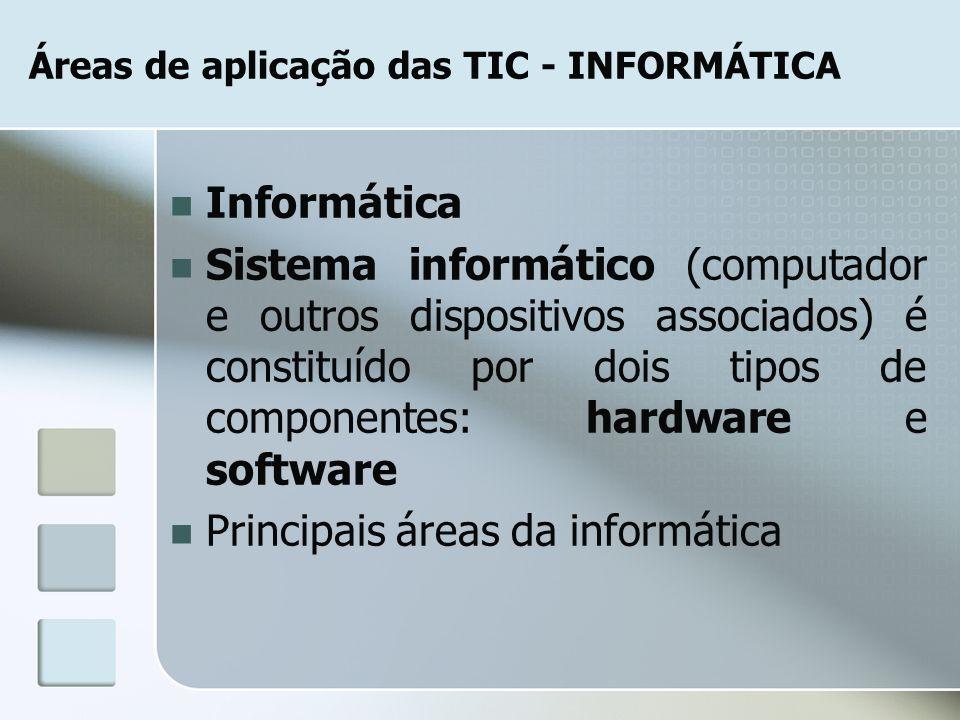 Áreas de aplicação das TIC - INFORMÁTICA Informática Sistema informático (computador e outros dispositivos associados) é constituído por dois tipos de