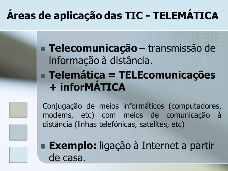 Áreas de aplicação das TIC - TELEMÁTICA Telecomunicação – transmissão de informação à distância. Telemática = TELEcomunicações + inforMÁTICA Exemplo: