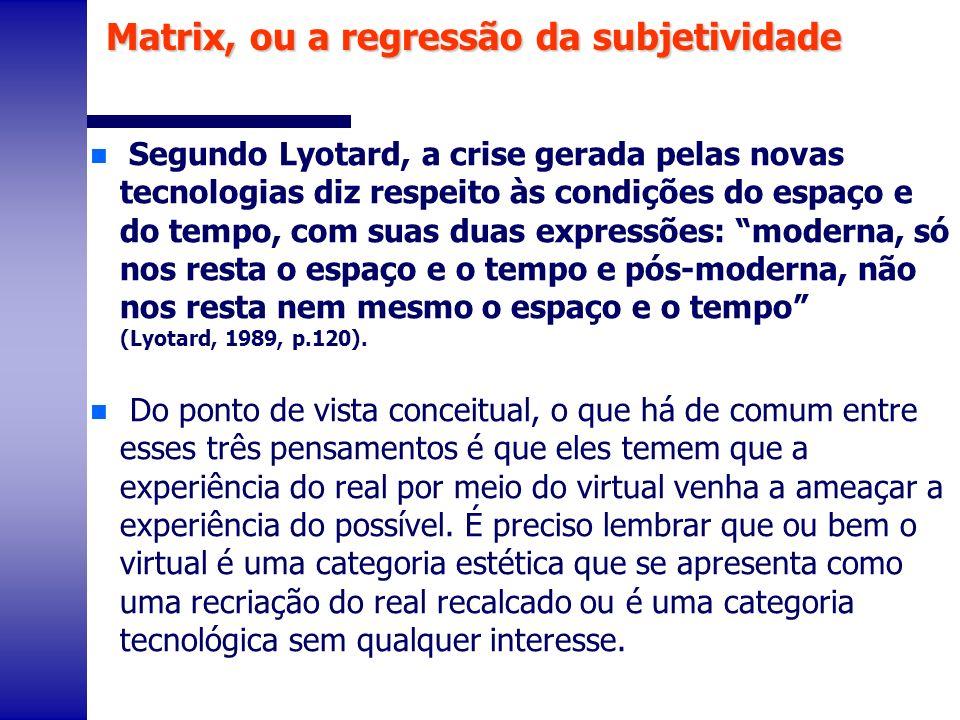 n Segundo Lyotard, a crise gerada pelas novas tecnologias diz respeito às condições do espaço e do tempo, com suas duas expressões: moderna, só nos re