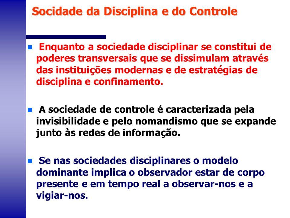 n Enquanto a sociedade disciplinar se constitui de poderes transversais que se dissimulam através das instituições modernas e de estratégias de discip
