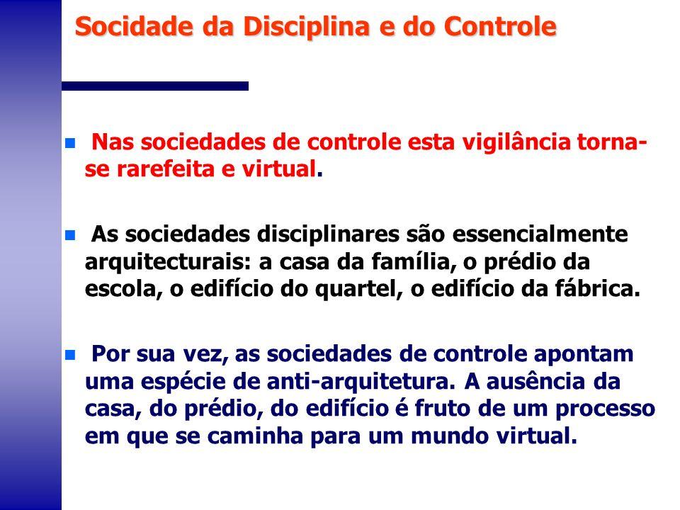 n Nas sociedades de controle esta vigilância torna- se rarefeita e virtual. n As sociedades disciplinares são essencialmente arquitecturais: a casa da