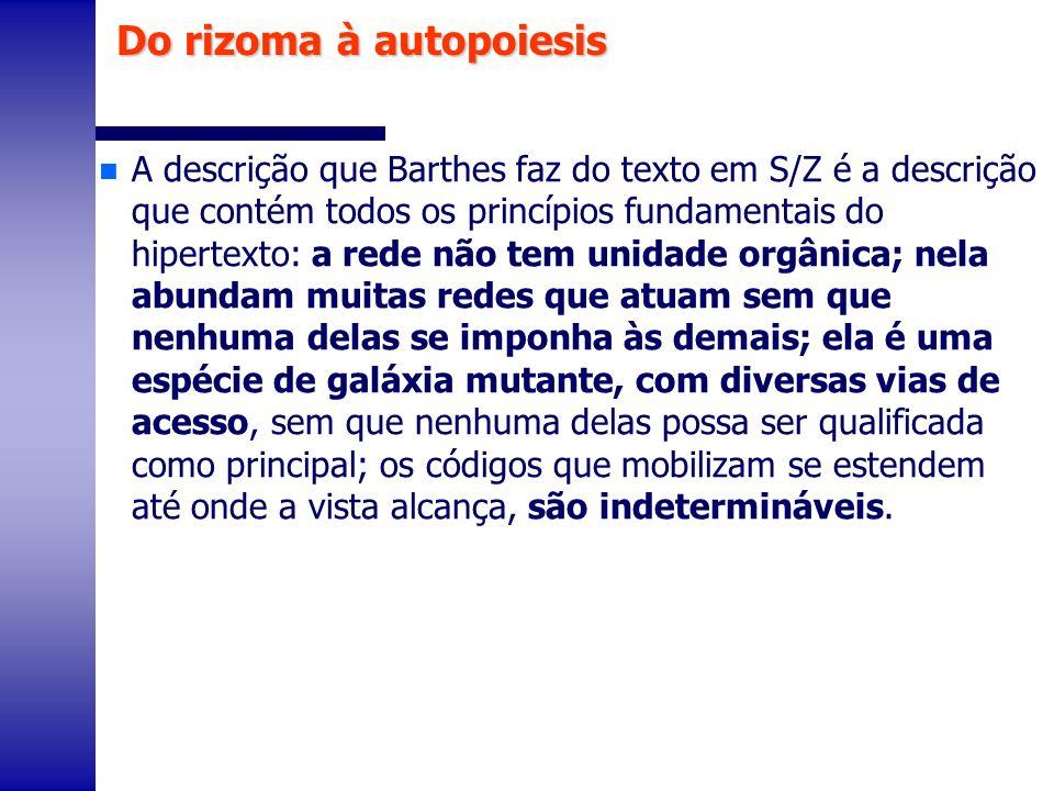 n A descrição que Barthes faz do texto em S/Z é a descrição que contém todos os princípios fundamentais do hipertexto: a rede não tem unidade orgânica
