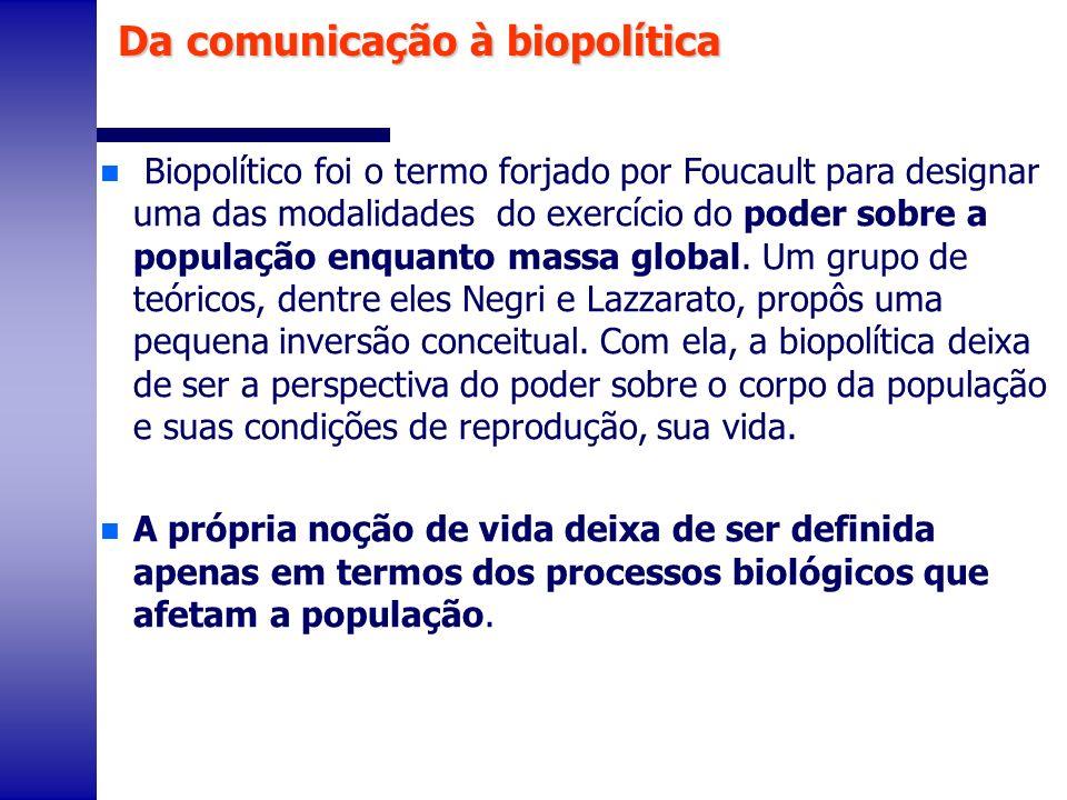 n Biopolítico foi o termo forjado por Foucault para designar uma das modalidades do exercício do poder sobre a população enquanto massa global. Um gru