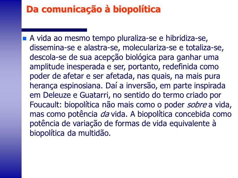 n Enfim, acreditamos, com Foucault, e a partir dele, com Toni Negri, que atual sistema de produção de riquezas é assegurado por uma comunidade biopolítica.