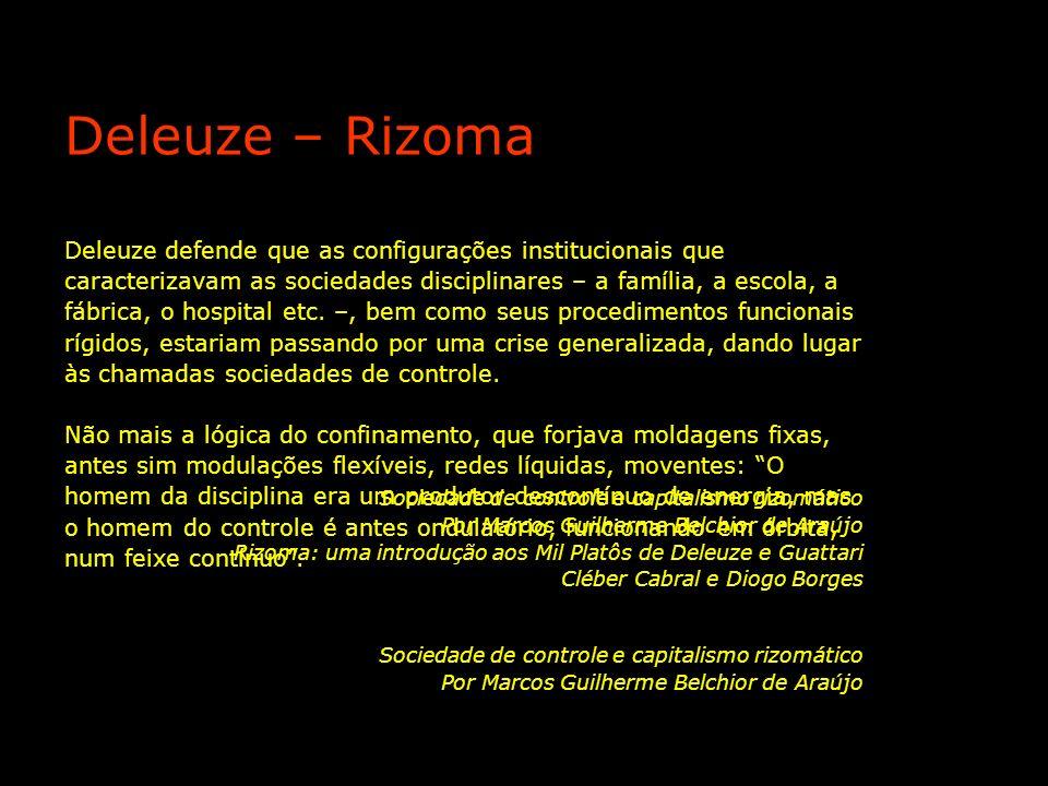 Deleuze defende que as configurações institucionais que caracterizavam as sociedades disciplinares – a família, a escola, a fábrica, o hospital etc. –