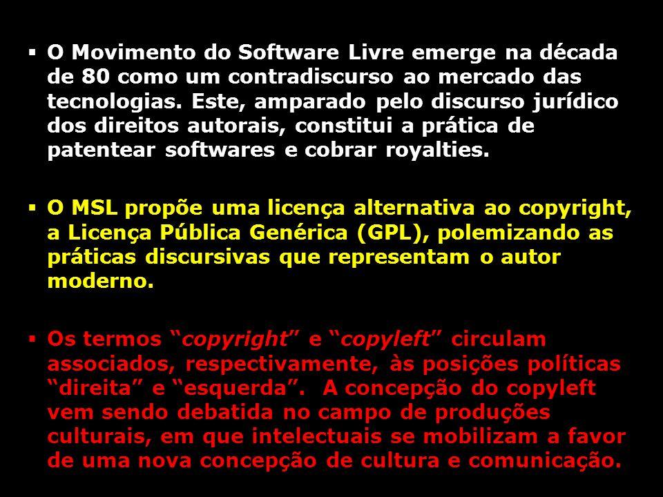 O Movimento do Software Livre emerge na década de 80 como um contradiscurso ao mercado das tecnologias. Este, amparado pelo discurso jurídico dos dire