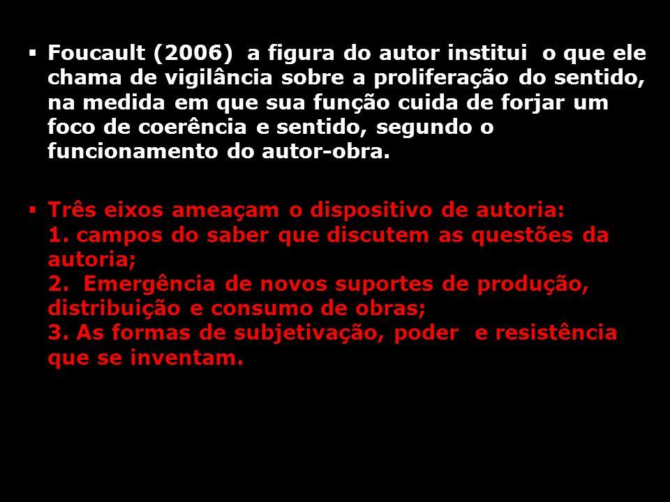 Foucault (2006) a figura do autor institui o que ele chama de vigilância sobre a proliferação do sentido, na medida em que sua função cuida de forjar