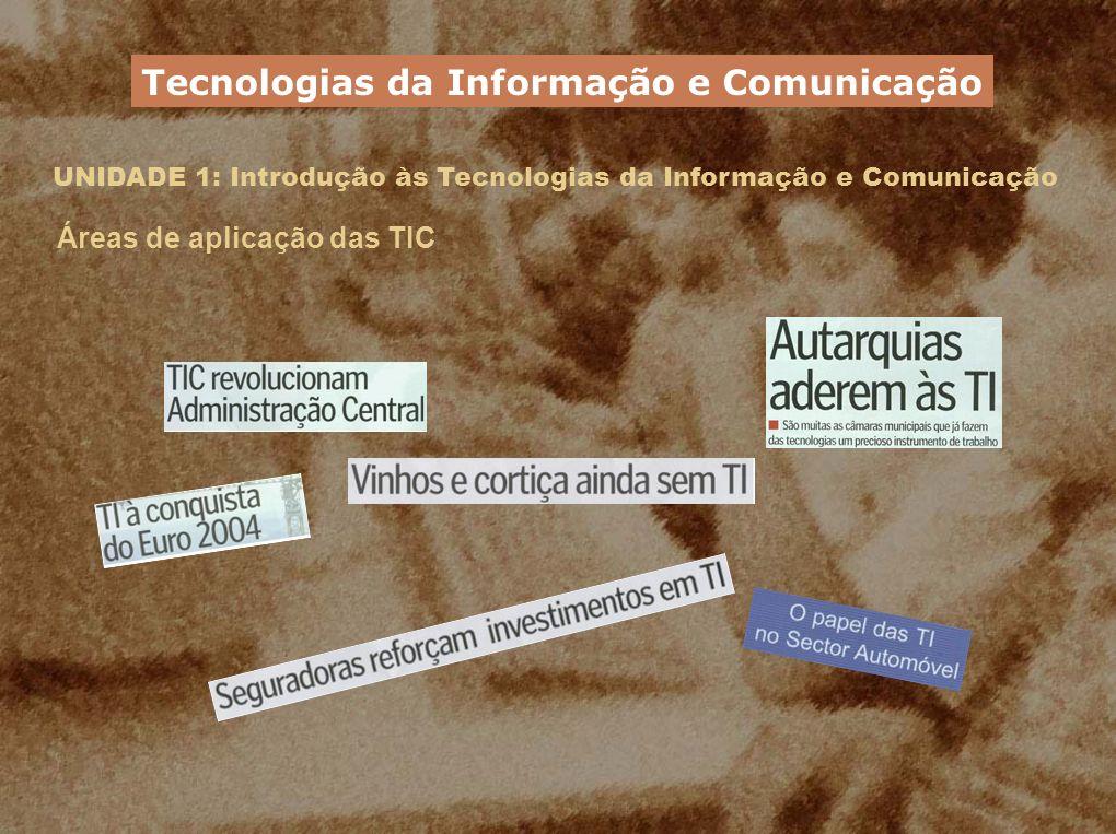 UNIDADE 1: Introdução às Tecnologias da Informação e Comunicação Áreas de aplicação das TIC Tecnologias da Informação e Comunicação
