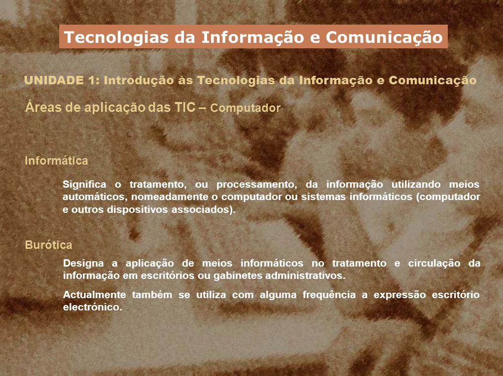 UNIDADE 1: Introdução às Tecnologias da Informação e Comunicação Áreas de aplicação das TIC – Computador Informática Significa o tratamento, ou proces