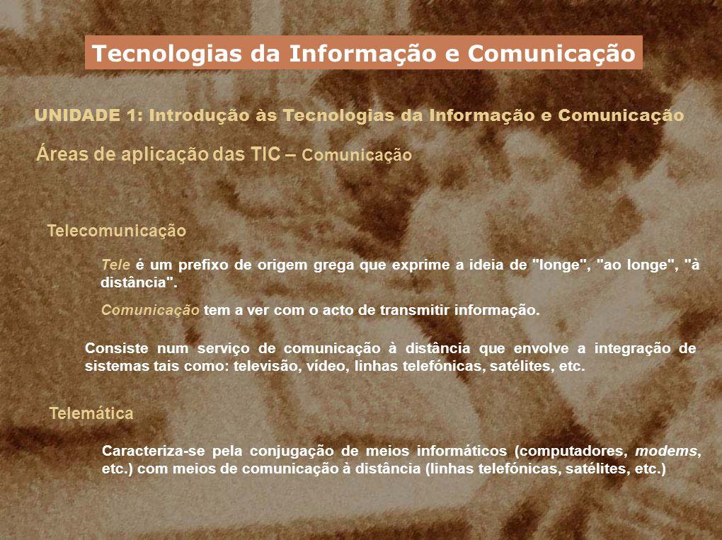 UNIDADE 1: Introdução às Tecnologias da Informação e Comunicação Áreas de aplicação das TIC – Comunicação Telecomunicação Tele é um prefixo de origem