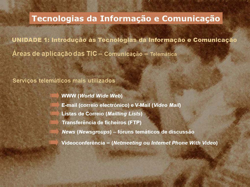 UNIDADE 1: Introdução às Tecnologias da Informação e Comunicação Áreas de aplicação das TIC – Comunicação – Telemática Serviços telemáticos mais utili