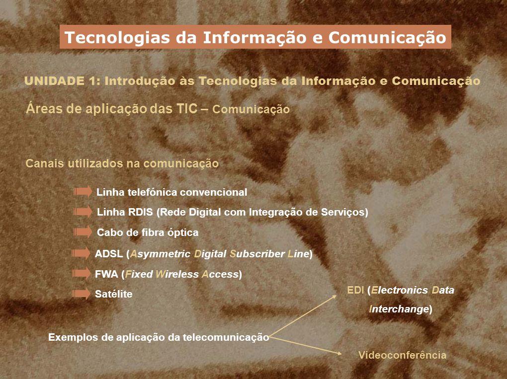 UNIDADE 1: Introdução às Tecnologias da Informação e Comunicação Áreas de aplicação das TIC – Comunicação Canais utilizados na comunicação Linha telef