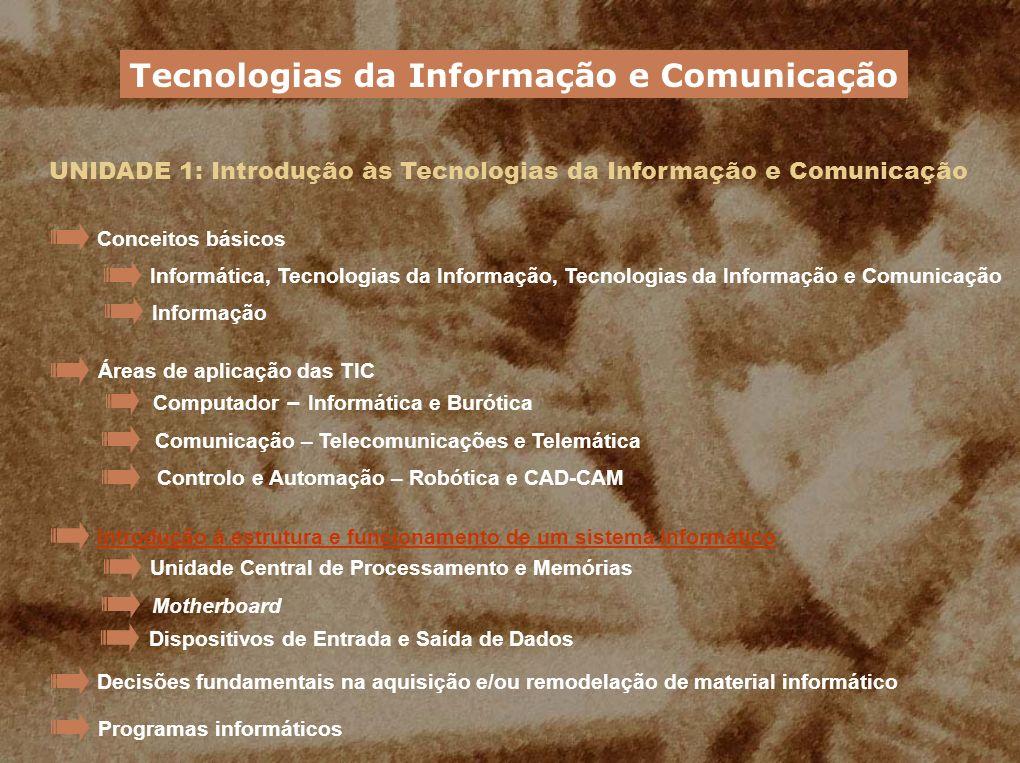 UNIDADE 1: Introdução às Tecnologias da Informação e Comunicação Os componentes internos Tecnologias da Informação e Comunicação A motherboard O processador (CPU) A memória As placas de expansão Os dispositivos de armazenamento Dentro de um computador podemos encontrar: