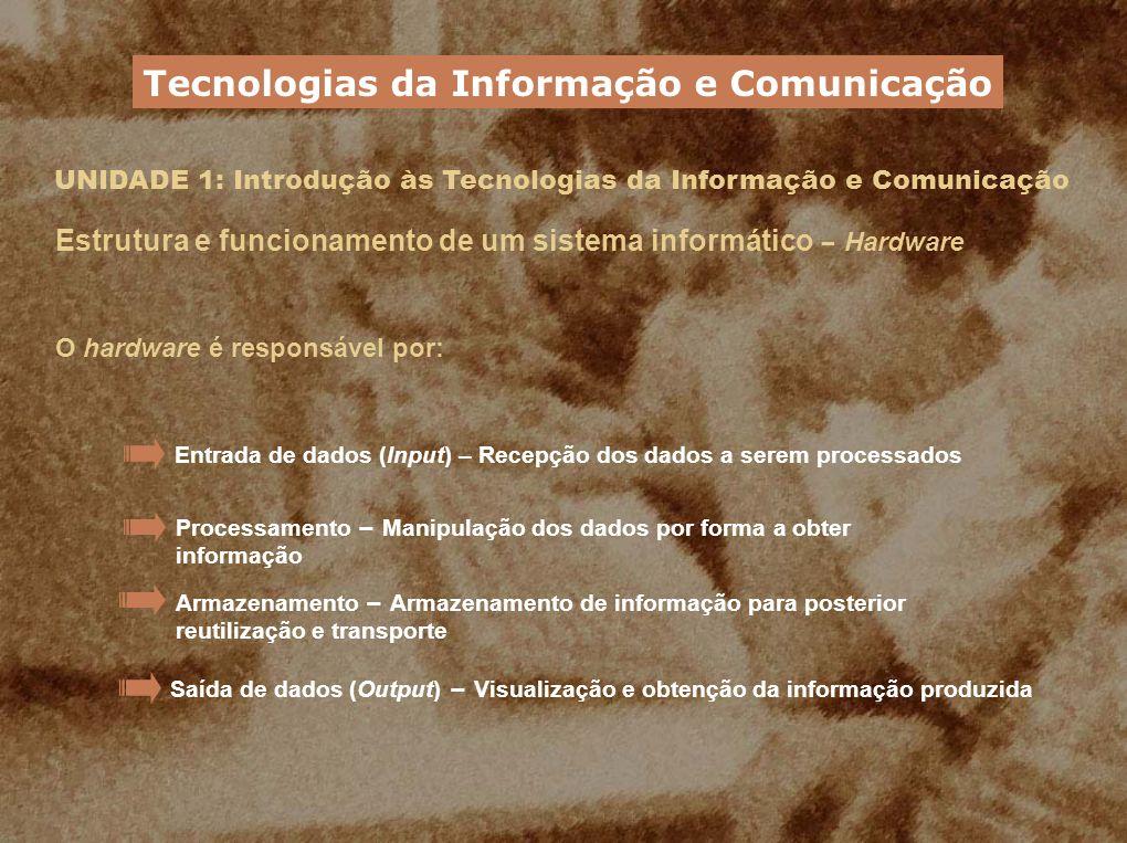 UNIDADE 1: Introdução às Tecnologias da Informação e Comunicação Estrutura e funcionamento de um sistema informático – Hardware O hardware é responsáv