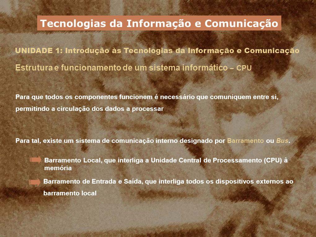 UNIDADE 1: Introdução às Tecnologias da Informação e Comunicação Estrutura e funcionamento de um sistema informático – CPU Para que todos os component