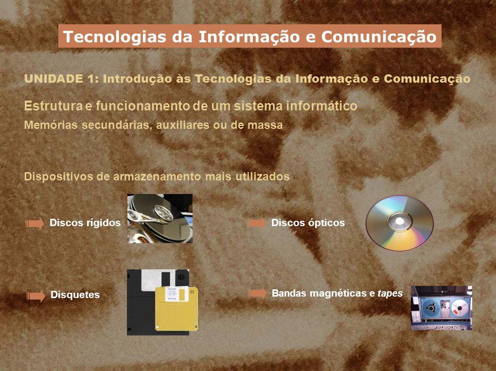 UNIDADE 1: Introdução às Tecnologias da Informação e Comunicação Estrutura e funcionamento de um sistema informático Memórias secundárias, auxiliares