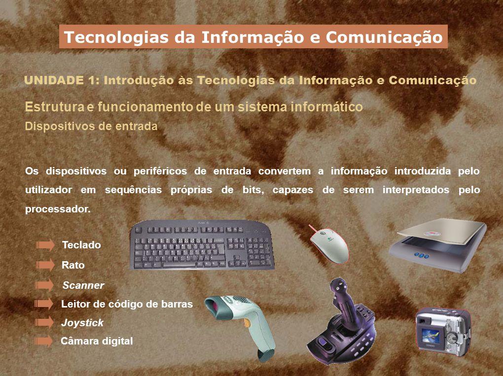 UNIDADE 1: Introdução às Tecnologias da Informação e Comunicação Estrutura e funcionamento de um sistema informático Dispositivos de entrada Os dispos