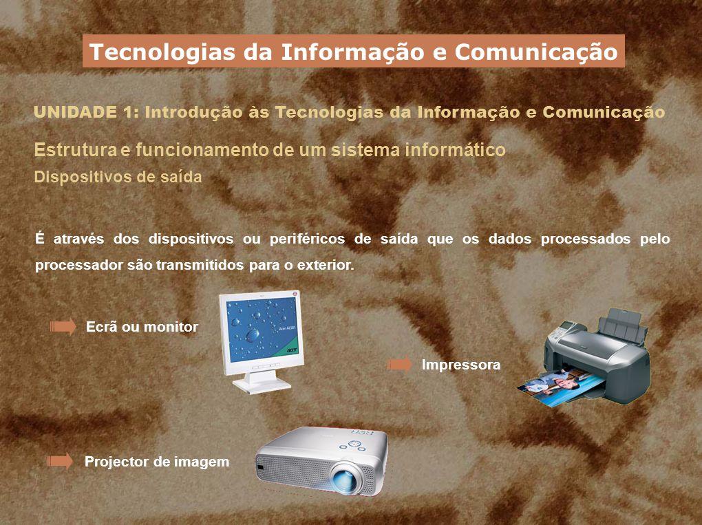 UNIDADE 1: Introdução às Tecnologias da Informação e Comunicação Estrutura e funcionamento de um sistema informático Dispositivos de saída É através d