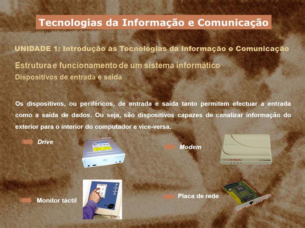 UNIDADE 1: Introdução às Tecnologias da Informação e Comunicação Estrutura e funcionamento de um sistema informático Dispositivos de entrada e saída O