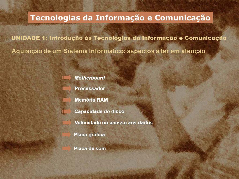 UNIDADE 1: Introdução às Tecnologias da Informação e Comunicação Aquisição de um Sistema Informático: aspectos a ter em atenção Motherboard Processado