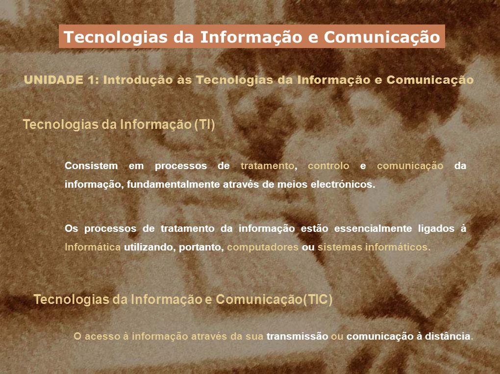 UNIDADE 1: Introdução às Tecnologias da Informação e Comunicação Áreas de aplicação das TIC – Comunicação Canais utilizados na comunicação Linha telefónica convencional Linha RDIS (Rede Digital com Integração de Serviços) Cabo de fibra óptica ADSL (Asymmetric Digital Subscriber Line) FWA (Fixed Wireless Access) Satélite Exemplos de aplicação da telecomunicação EDI (Electronics Data Interchange) Videoconferência Tecnologias da Informação e Comunicação