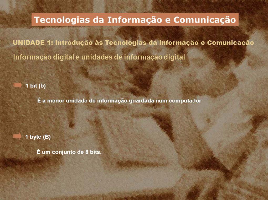UNIDADE 1: Introdução às Tecnologias da Informação e Comunicação Informação digital e unidades de informação digital Múltiplos do byte Tecnologias da Informação e Comunicação UnidadeSímboloRelação com o byte quilobyte1 KB1024 B (2 10 bytes) megabyte1 MB1024 KB (2 20 bytes) gigabyte1 GB1024 MB (2 30 bytes) terabyte1 TB1024 GB (2 40 bytes)