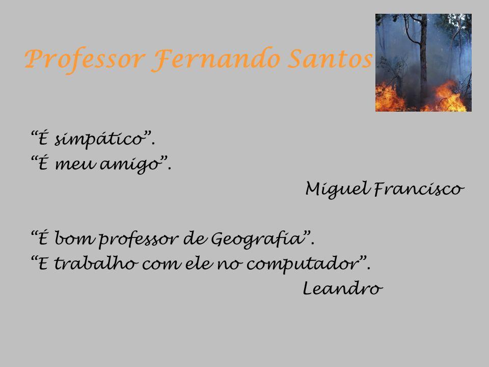 Professor Fernando Santos É simpático. É meu amigo. Miguel Francisco É bom professor de Geografia. E trabalho com ele no computador. Leandro